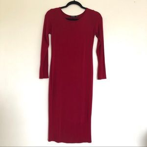 Boohoo Red Long Sleeves Stretchy Pencil Dress.